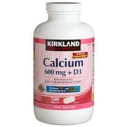 Kirkland Signature Calcium 600mg + D3, 500 Tablets