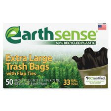 "Webster Trash Bags,33 Gallon,.75mil,32-1/2""x40"",50/BX,Black"