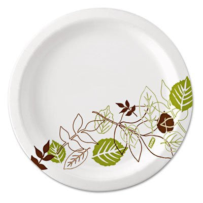 Dixie UX9WS Pathways Mediumweight Paper Plates, 8.5 in. , WiseSize, Green-Burgundy, 500-Carton