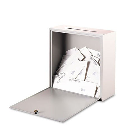 Buddy Products - Wall-Mountable Interoffice Mail Collection Box, 18w x 7d x 18h, Platinum - Sold As 1 Each - Use for outgoing mail collection, private interoffice memos, diskettes, CD-ROMs and more.