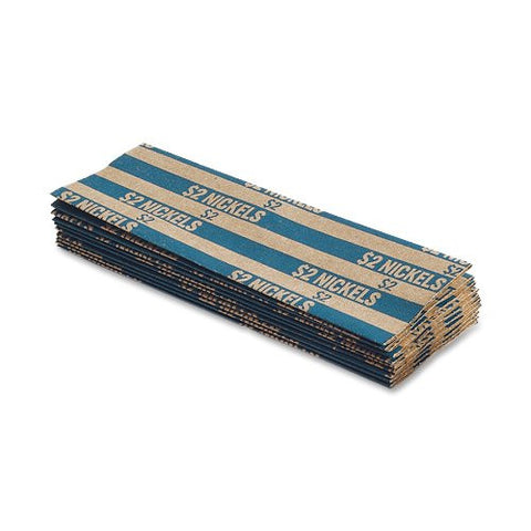 MMF Industries Pop-Open Flat Paper Coin Wrappers, Nickels, Blue, 1000 Wrappers per Box (216020008)