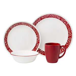 Corelle Livingware 16-Piece Dinnerware Set, Bandhani, Service for 4