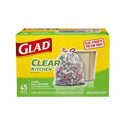 Glad GLAD45CT Tall Kitchen Drawstring Clear Recycling Trash Bags, 13 Gallon - 45 Pack