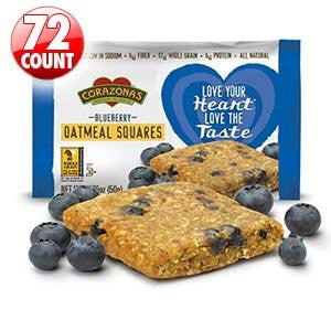 CorazonasTM Heart Healthy Blueberry Oatmeal Squares 72-count 6 - 12-packs, 1.76 Oz. Squares