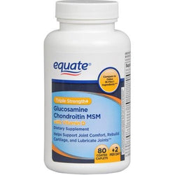 ONLY 1 IN PACK Equate Glucosamine Chondroitin MSM with Vitamin D, Triple Strength, 80 Coated Caplets
