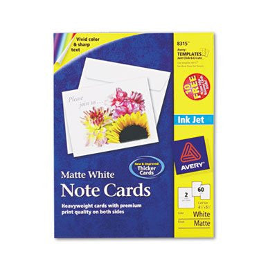 Inkjet-Compatible Cards 4-1/4 x 5-1/2, 2 Cards per Sheet, 60/Box with Envelopes