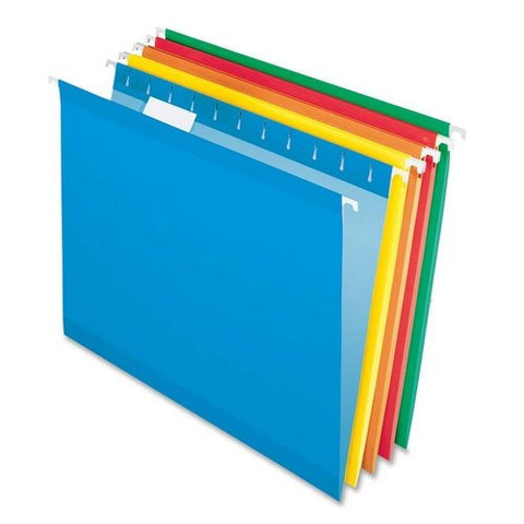 Hanging Folder, Reinforced, Bright Colors, 1/5 Tab, Letter, 25/Box (ESS415215AST)