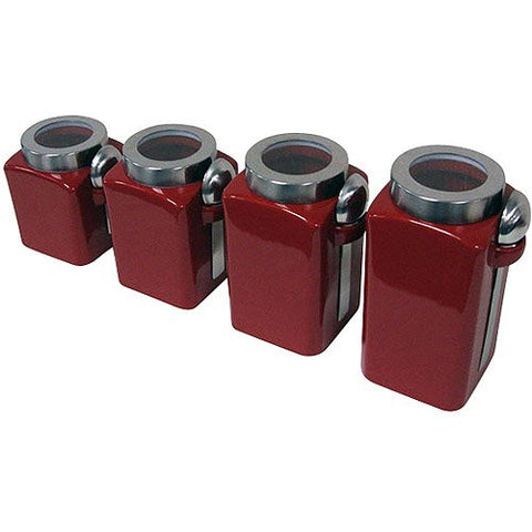 Mainstays Red Stonewear Kitchen Canister Set, 4pc
