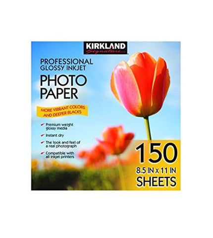 Kirkland Signature Professional Glossy Inkjet Photo Paper 8.5 x 11 Inch (150 Sheets)