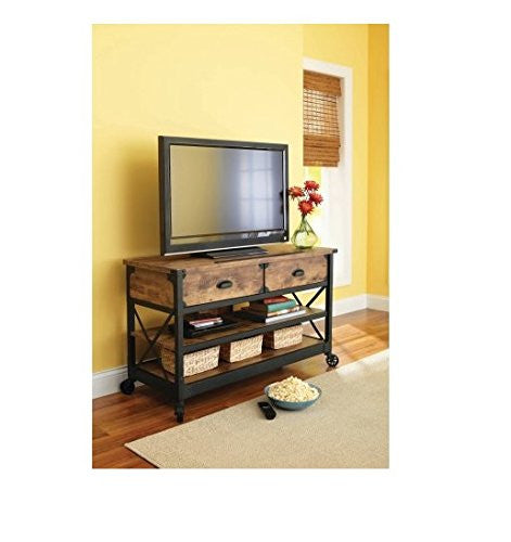 Rustic Country Antiqued Black/pine Panel Tv Stand for Tvs up to 52""
