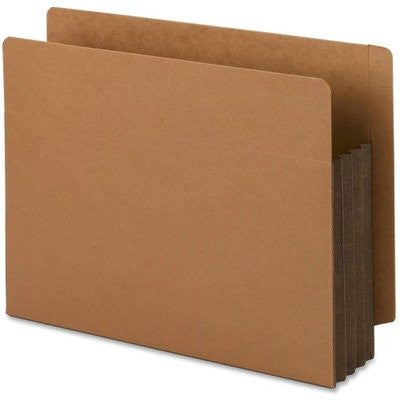 SMD73681 - Smead 73681 Dark Brown Extra Wide End Tab File Pockets with Reinforced Tab and Colored Gusset