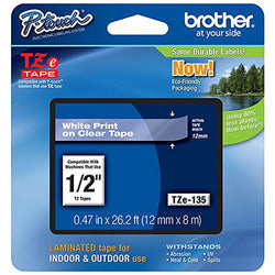 Brother 1/2 Inch White On Clear Tape Highest Quality Available Professional Grade Practical