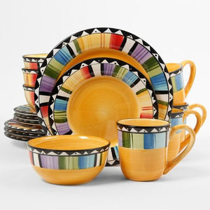 Gibson Home Fandango 16-Piece Dinnerware Set, Yellow