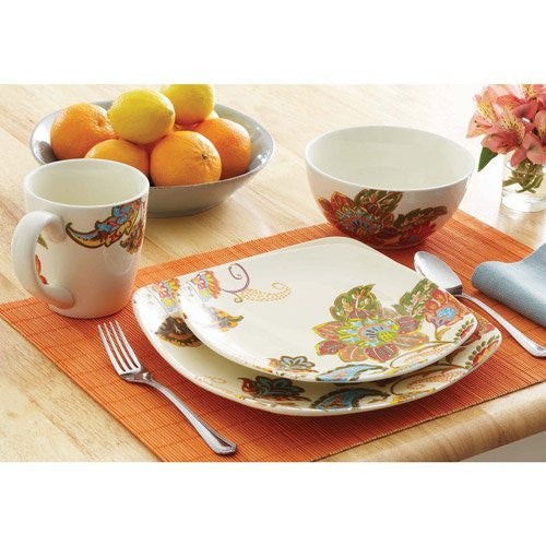 16 Piece Floral Stoneware Dinnerware Set w/ Mugs, Plates & Bowls. Cups Plate & Bowl Sets for Casual / Formal Dinning Room. ON SALE NOW Have Dinner w/ This 16 Pc. Dishware Sets includes Soup Bowl, Side Salad Dish & Mugs. Durable Square Pieces Tableware