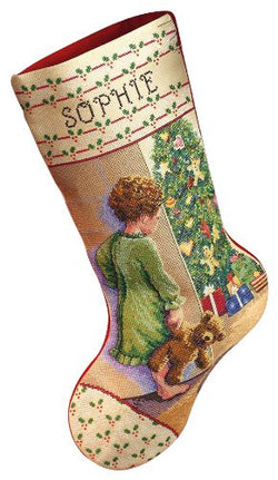 Janlynn Cross Stitch Kit, 18-Inch by 10-Inch, Christmas Morning Stocking
