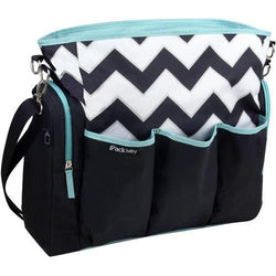 iPack Chevron Black, White, & Teal Baby Diaper Bag- IPB-01422