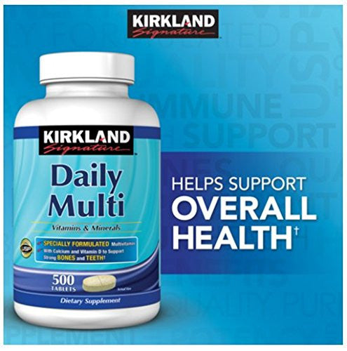 Provides the essential nutrients necessary for a balanced diet and to give you that Energized Feeling - Kirkland Signature Daily Multi Vitamins & Minerals Tablets, 500-Count Bottle