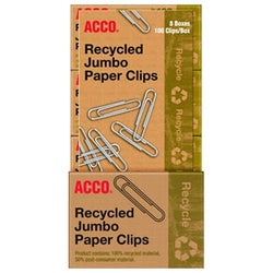 AccoRecycled Jumbo Paper Clips - 8/100ct