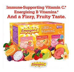 Emergen-C Vitamin C 1000 Mg Tropical, Super Orange, Raspberry: 90 Packets