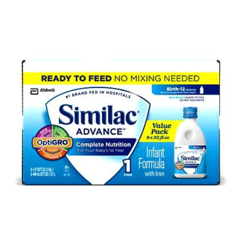 Abbott Similac Advance Complete Nutrition Infant Formula with Iron, Ready to Feed, 8 Count