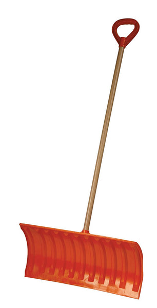 Bigfoot 25 in. Poly Pusher Snow Shovel with Wooden Handle