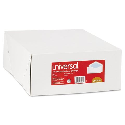 Universal Security Tinted Business Envelope, V-Flap, #10, White, 500/Box (35202)