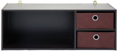 Furinno 10005EX/BR Wall-mounted Storage Shelf with 2 Bin Drawers, Espresso/Brown