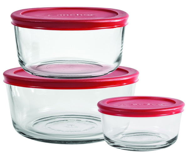 Anchor Hocking 6-Piece Round Food Storage Containers with Red Plastic Lids, Set of 3