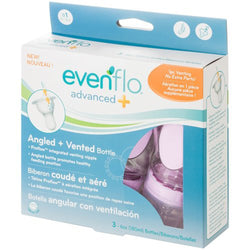 Evenflo Advanced Plus Angled Bottle, 6 Ounce, 3-Count, Boy, 0-3 Months