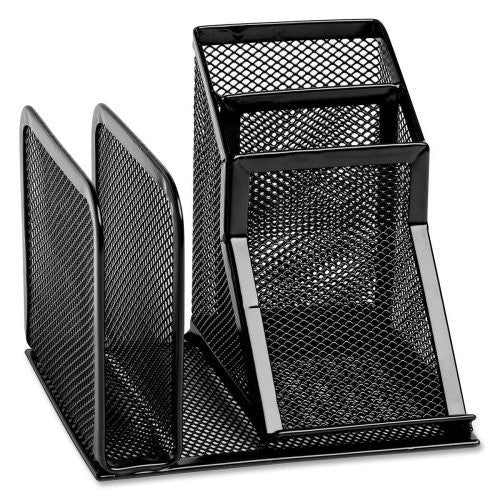 Wire Mesh Desk Organizer with Pencil Storage, 5 3/4 x 5 1/8 x 5 1/8, Black