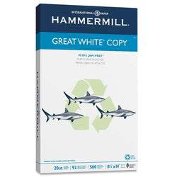 Hammermill Great White Recycled Copy Paper, 92 Brightness, 20 lb, Legal Size (8.5 x 14), 500 Sheets (86704)