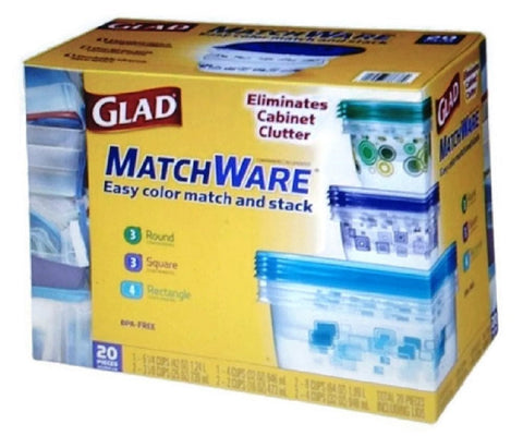 Glad MatchWare Food Storage Containers 20 Piece Variety Set