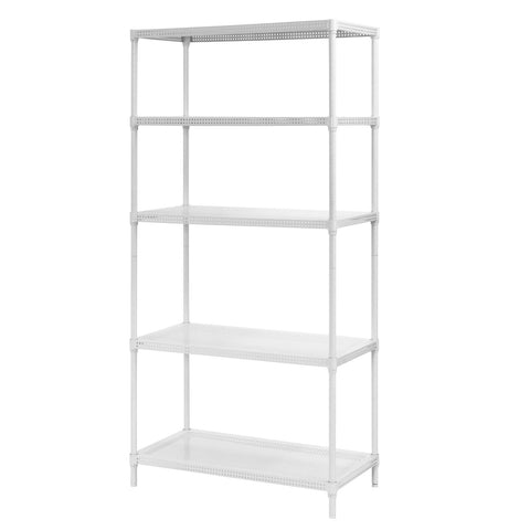 "Muscle Rack PWS351871-5W Steel Wire Shelving, 5 Adjustable Shelves, 330 lb Per Shelf Capacity, 71"" Height x 35"" Width x 18"" Depth, White"