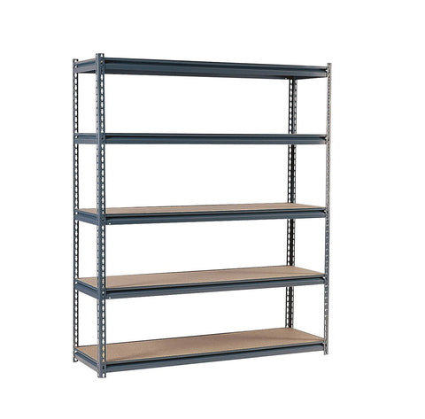 "Edsal UR2472 Industrial Gray Shelving, 16-Gauge Steel, 5 Adjustable Shelves, 700 lb. Capacity, 72"" Height x 72"" Width x 24"" Depth"