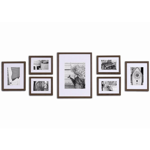 Pinnacle Frames & Accents Gallery Perfect 7 Piece Wall Kits walnut