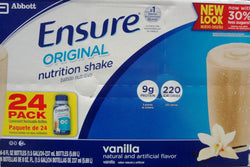 Ensure Original 24-8 FL OZ Nutrition Shake, Vanilla, 192 FL OZ