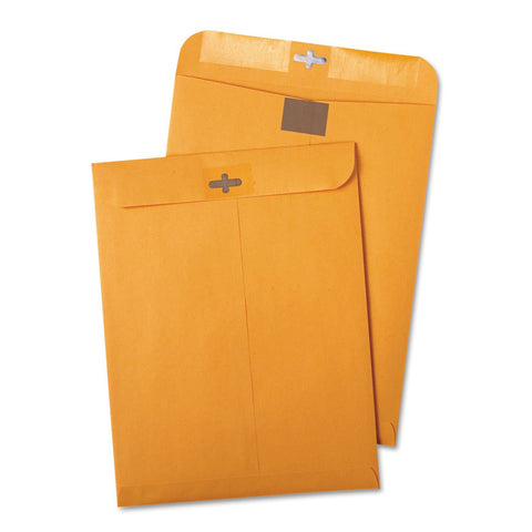 Quality Park Postage Saving ClearClasp Kraft Envelopes, 9 x 12, Brown Kraft, 100/Box