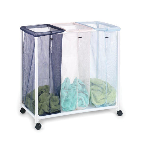"Homz Triple Clothing Sorter with Wheels, 3 Removable Bags, 31"" x 16"" x 30.5"" (4549010)"