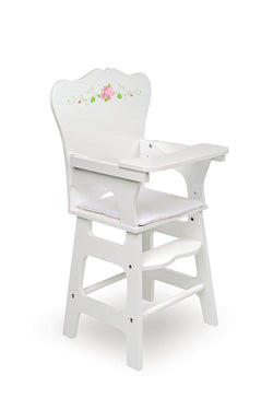 Badger Basket White Rose Doll High Chair, White