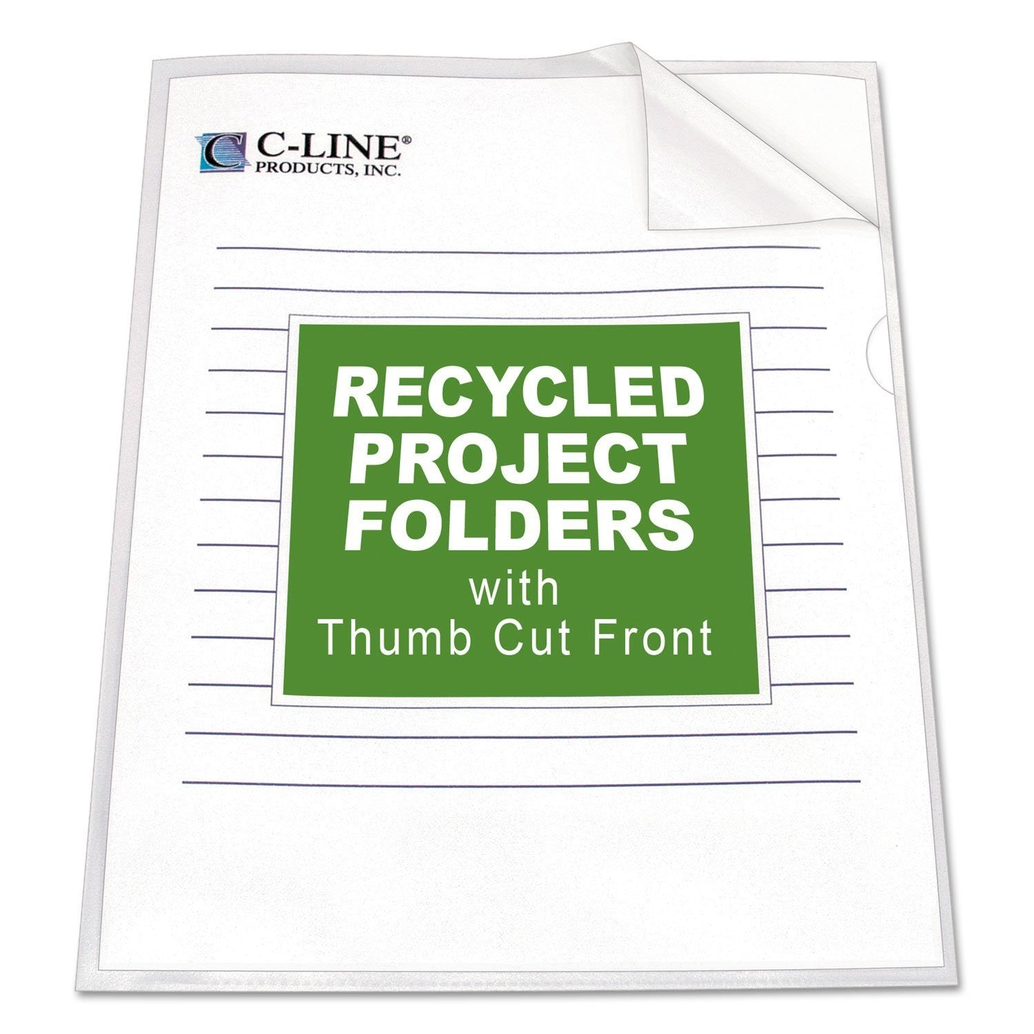 C-Line Project Folders, Jacket, Letter, Poly, Clear, 25/Box