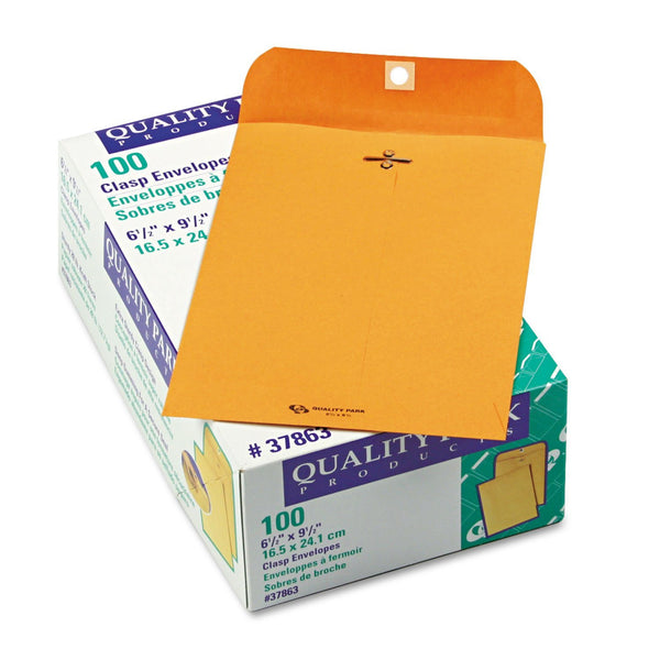 Quality Park Clasp Envelope, 6 1/2 x 9 1/2, 28lb, Brown Kraft, 100/Box