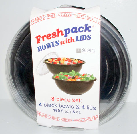 Disposable 5 Quart Bowls with Lids 8 Piece Set - 4 Black Bowls & 4 Clear Lids