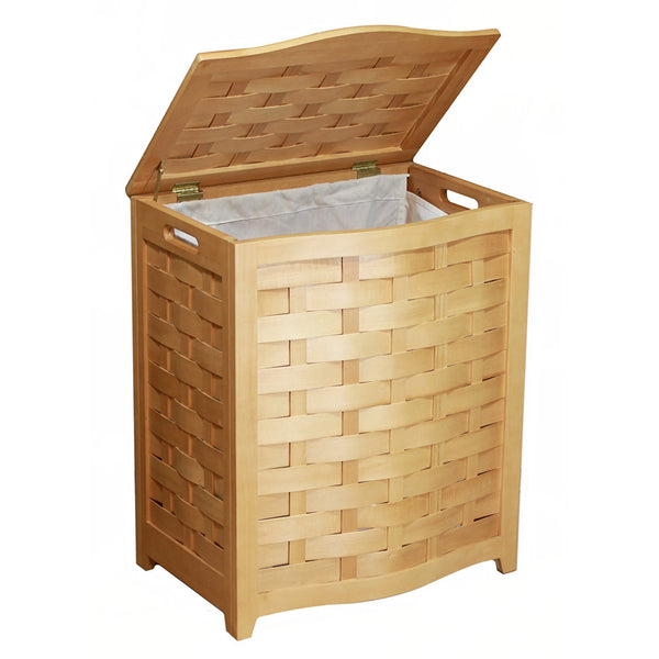Oceanstar BHV0100N Bowed Front Veneer Laundry Wood Hamper, Natural Finished