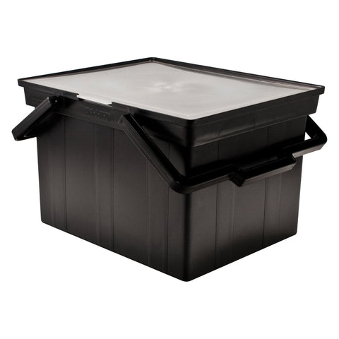 ADVANTUS Companion Letter/Legal Portable Plastic File Box, Includes Lid and Handles, 17 x 14 x 11 Inches, Black (TLF-2B)