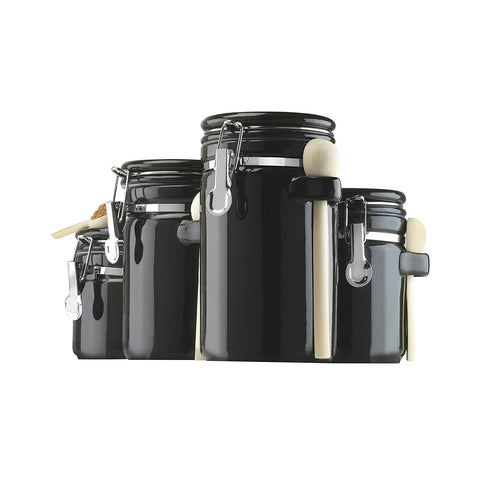 4-Piece Ceramic Canister Set - Black