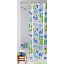 Neptune Ocean Themed Children's Bathroom PEVA Vinyl Shower Curtain