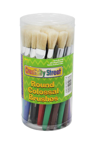 Chenille Kraft 5168 Plastic Handle Colossal Round Brushes, Assorted Colors. 30 Brushes/Canister