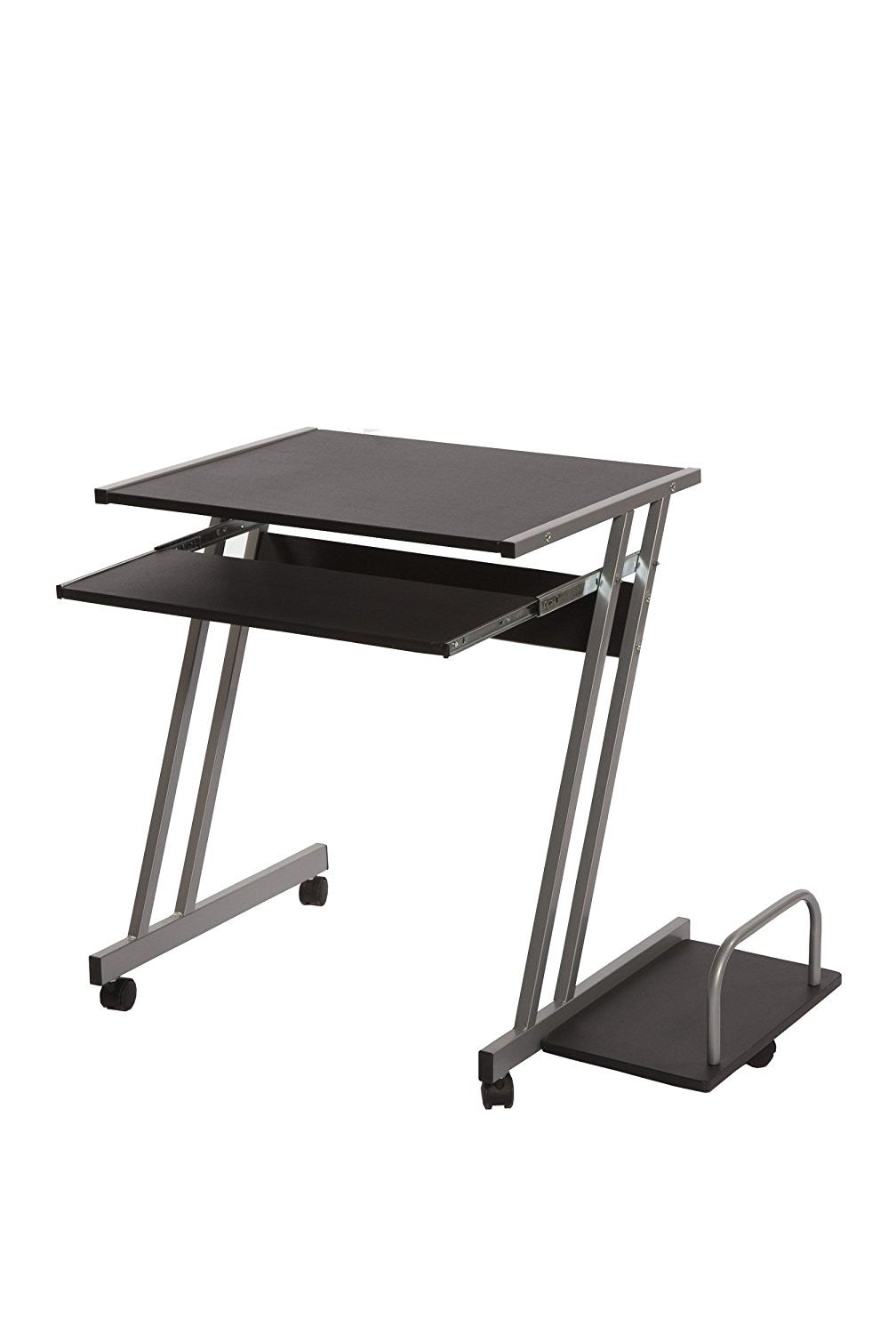 Target Marketing Systems Cambridge Mobile Computer Desk with Sliding Keyboard Tray, CPU Shelf, and 4 Caster Wheels, Black