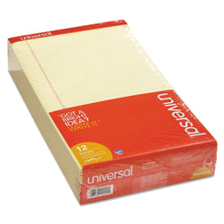 Universal 40000 Perforated Edge Writing Pad, Legal/Margin Rule, Legal, Canary, 50-Sheet, Dozen