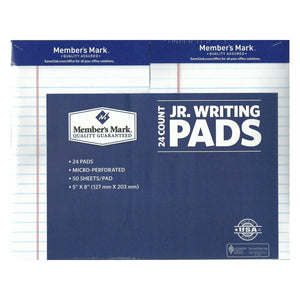 "Member's Mark - Perforated Writing Pad - 5"" x 8"" - White - 24 ct."